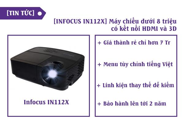 Máy chiếu INFOCUS IN112X giá rẻ dưới 8 triệu có cổng HDMI