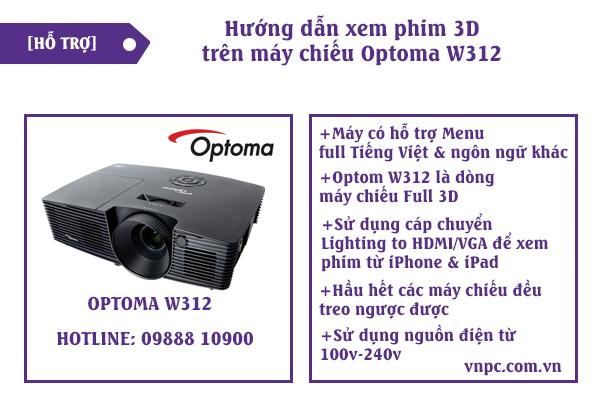 hướng dẫn xem phim 3d trên máy chiếu optoma w312