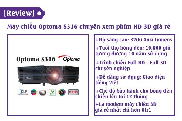 review máy chiếu optoma s316