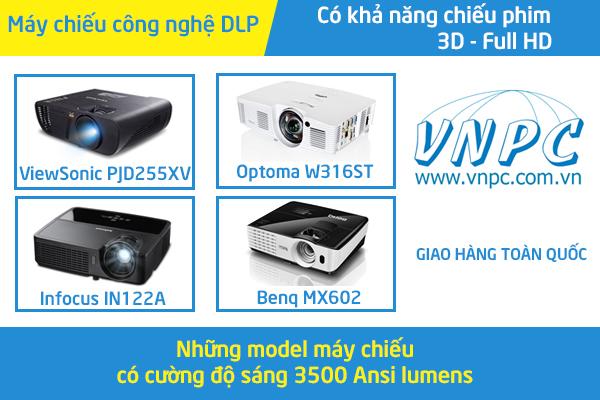 máy chiếu có cường độ sáng 3500 Ansi lumens