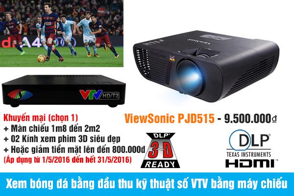 Xem bóng đá bằng đầu thu kỹ thuật số VTV bằng máy chiếu