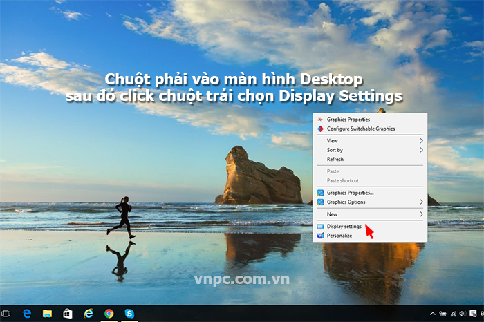 Mở menu Display Settings ngoài Desktop