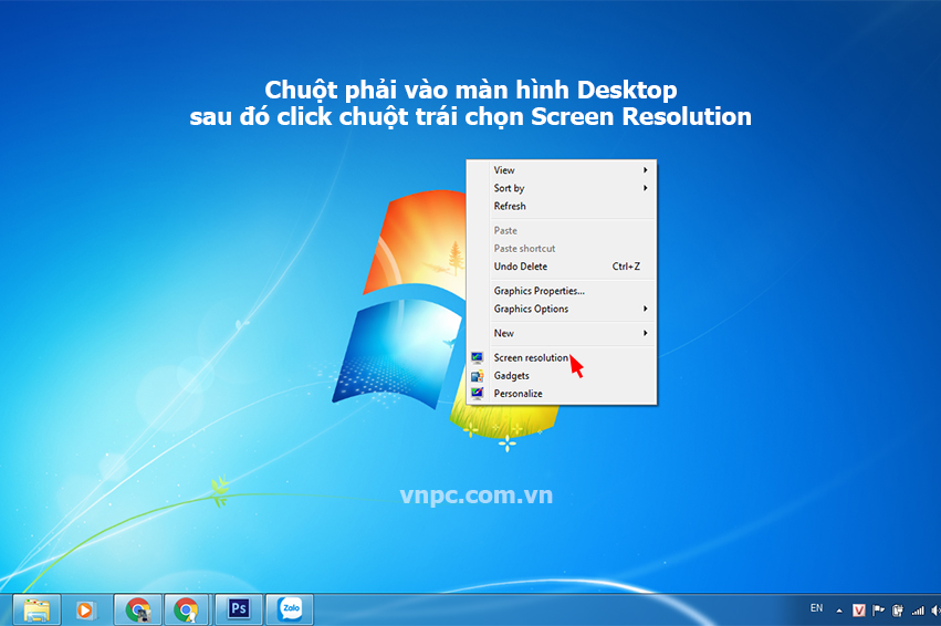 Mở giao diện Screen Resolution