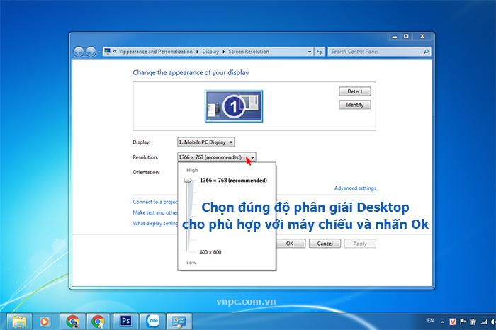 thay đổi độ phân giải màn hình desktop