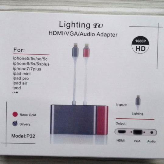 Cáp chuyển LIGHTNING TO HDMI + VGA cho Iphone/Ipad