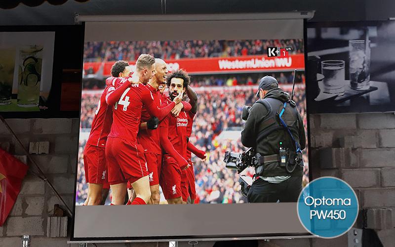 Lắp máy chiếu Optoma PW450 cho quán cafe bóng đá tại Long An