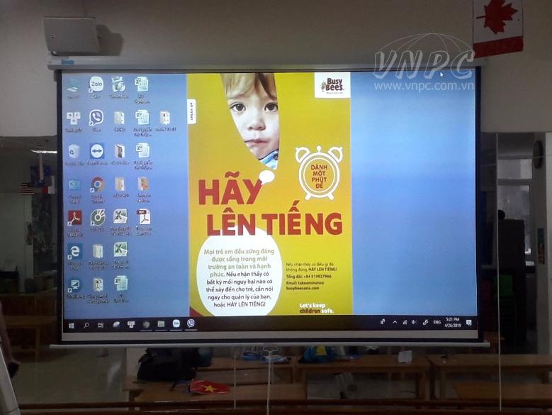 Lắp máy chiếu Optoma PW450 trường mầm non Quận Hoàn Kiếm