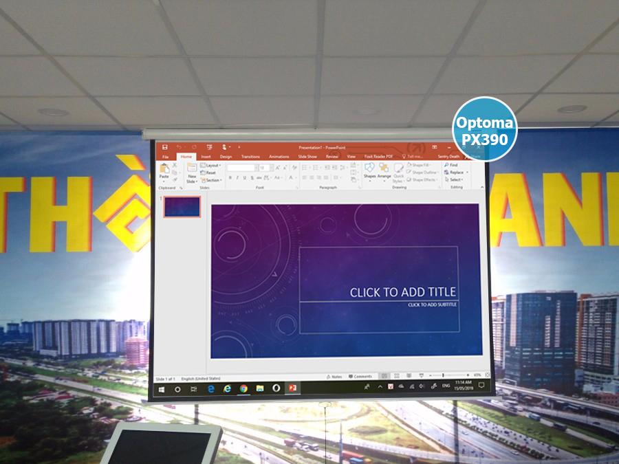Lắp đặt máy chiếu Optoma PX390 văn phòng công ty tại Quận 2