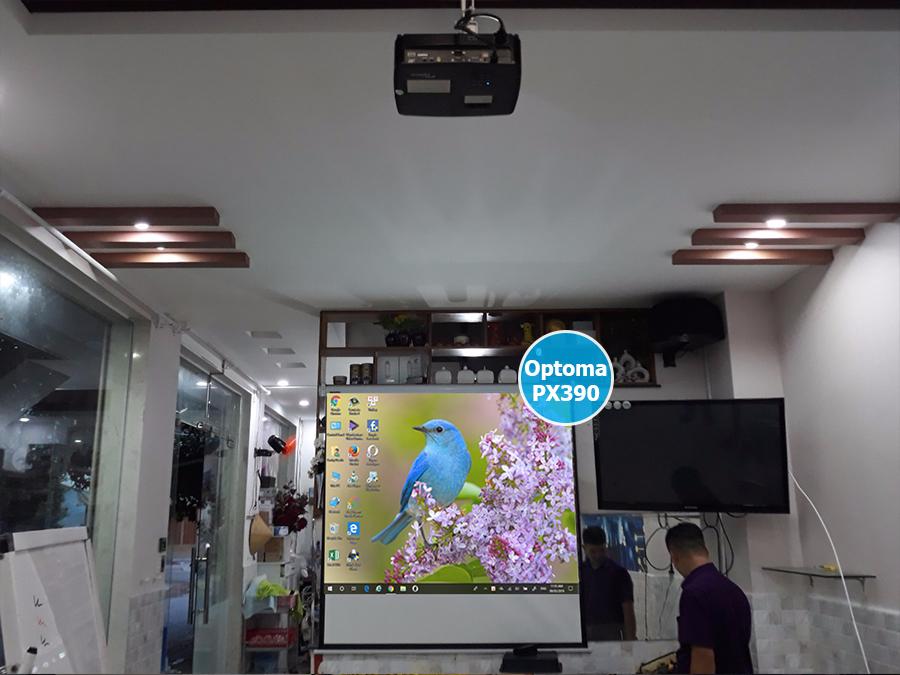 Lắp đặt máy chiếu Optoma PX390 cho quán cà phê máy lạnh