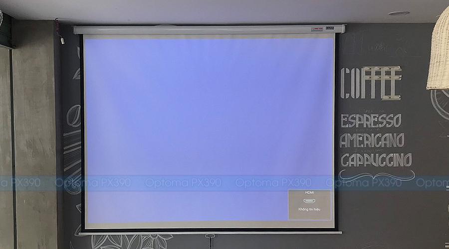 Lắp đặt màn chiếu treo tường kéo tay 120 inch Exzen