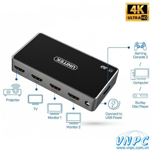 Bộ chia HDMI 1-4 Unitek chuẩn 4K