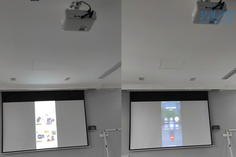 Lắp đặt ViewSonic PX701HD và màn chiếu điện 16:9