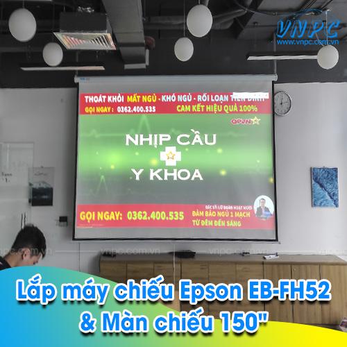 """Lắp đặt Epson EB-FH52 & Màn chiếu kéo tay 150"""" tại Cầu Giấy, Hà Nội"""