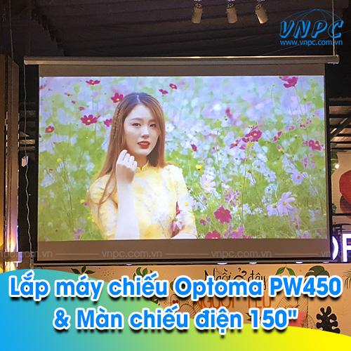 """Lắp máy chiếu Optoma PW450 & Màn chiếu điện 150"""" tại Du Mục Coffee"""