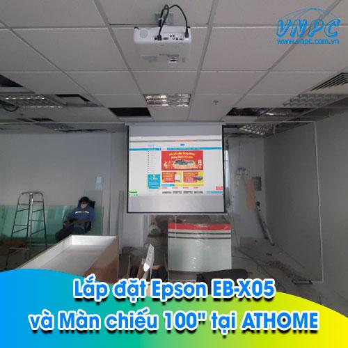 Lắp đặt Epson EB-X05 và Màn chiếu 100″ tại văn phòng Cty ATHOME