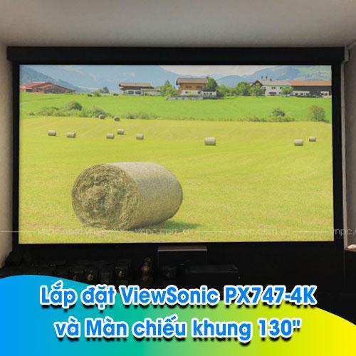 """VNPC lắp đặt máy chiếu ViewSonic PX747-4K và Màn chiếu khung 130"""""""