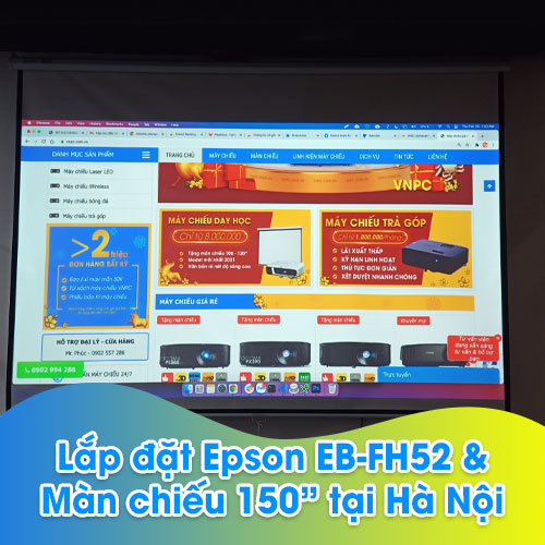 Lắp đặt máy chiếu Epson EB-FH52 sử dụng hội họp văn phòng tại Hà Nội