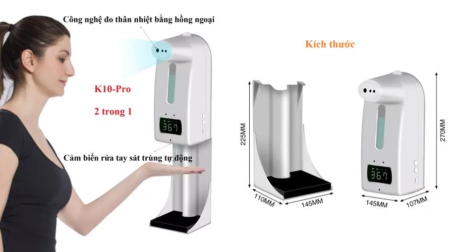 Máy đo thân nhiệt K10 pro tích hợp rửa tay tự động